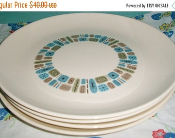ON SALE Vintage Temporama By Canonsburg Set of 4 Dinner Plates, Mid Century Modern, Housewares, China, Modern, Turquoise, Atomic, 1950s, Din