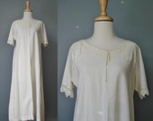 Cotton Nightgown / Vtg Soft  White Cotton Nightgown with Crocheted collar and sleeves