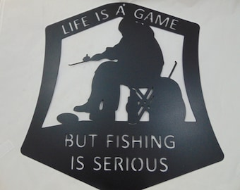 Metal Ice Fishing Wall Hanging for Your Fish House - One-Of-A-Kind, Customize It!