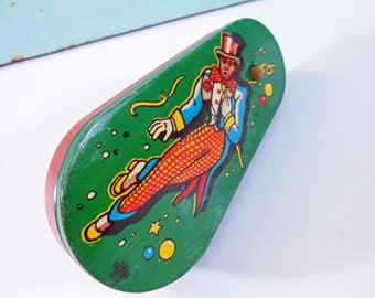 Vintage Toy Tin Ratchet Noisemaker with Clown Lithograph US Metal Toy Company