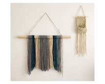 Neutral Yarn Wall Hanging, Boho Home Decor, Gray Navy Teal and Natural
