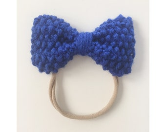 Knit Bow on Elastic band for Babies, Royal Blue Knit Bow Headband