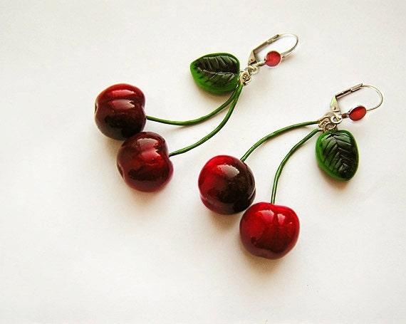 Sale Cherry Earrings Red, cherry jewelry, bright jewelry, handmade, pin-up red jewelry, cherries