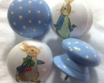 6 x Gorgeous Handpainted Blue Polka Dot and Decoupaged Beatrix Potter Peter Rabbit Large 2 inch Drawer Knobs