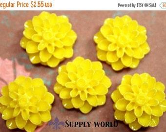 ON SALE Resin Cabochon - 5pcs - Flower Cabochon - Bright Yellow Flower Cabochon - Cabochon - SW001-6