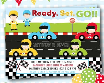 Transportation Invitation, Race Car Invitation, Nascar Invitation, Race Cars Invitation, Race Cars Birthday, Racing Invitation - R98