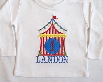 CIRCUS BIRTHDAY SHIRT - Personalized Shirt Circus Carnival Big Top Tent - Boy - Name - Number Shirt - Tshirt - Infant - Toddler - Clothing