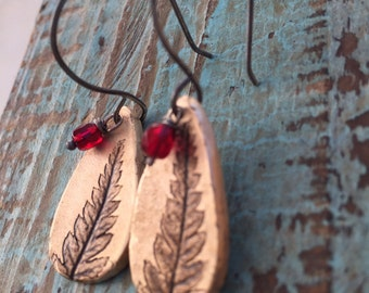 Bronze fern earrings