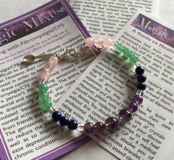 Fibromyalgia, CFS/ME and Chronic Pain Awareness Crystal Gemstone Bracelet