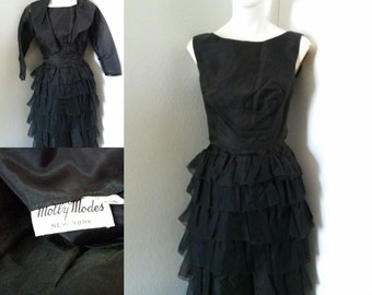 Vintage 50s Molly Modes jacket and dress set ruffled tiered little black dress sheer jacket Audrey Hepburn style