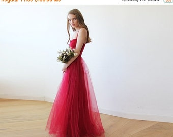 Bordeaux maxi tulle ballerina gown, Sweetheart maxi tulle dress, Romantic red tulle gown