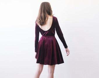 Bordeaux backless velvet top , Velvet long sleeves blouse, Bordeaux velvet blouse
