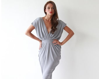 Bridesmaids light gray short gown, Backless grey gown 1007