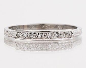 Antique Wedding Band - Antique 18k White Gold Engraved Diamond Wedding Band