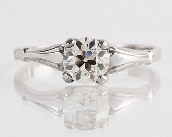 Antique Engagement Ring - Antique 1920's 14k White Gold Diamond Engagement Ring