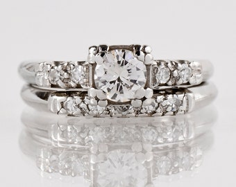 Vintage Engagement Ring - Vintage 1940s Platinum Diamond Wedding Set