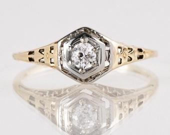 Antique Engagement Ring - Antique 1920s 14k White & Green Gold Filigree Diamond Engagement Ring