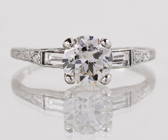 Antique Engagement Ring - Antique Platinum Etched Diamond Engagement Ring