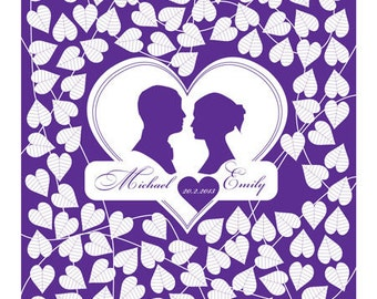 Wedding Guest Book Poster - Couple Portrait Silhouette - Custom Guestbook Poster - Canvas or Paper - Free Gift with Purchase
