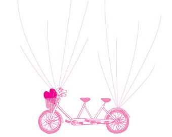 DIY Printable Wedding Guest Book Flying Bicycle - Personalised Fingerprint and Signatures Guestbook - Any Sizes - Printable PDF Poster
