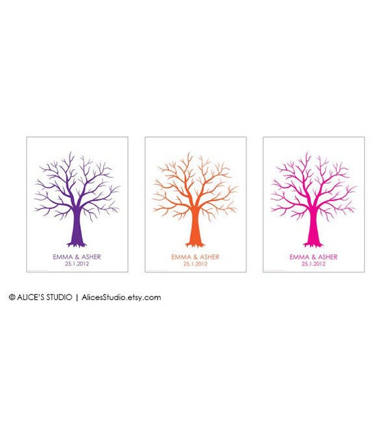 Fingerprint Guest Book Tree - Custom Tree Guest Book Print - Fingerprint Guest Book Poster- Free Gift with Purchase