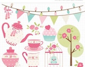 50% OFF SALE Clipart - Tea Garden (1) / Tea Set / Ballet Tea Party - Digital Clip Art (Instant Download)