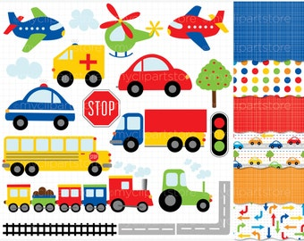 Clipart Combo - Transportation / Trains, Planes & Trucks - airplanes, train clipart, construction clipart, helicopter, road safety clipart