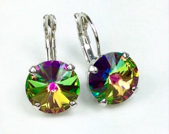 Swarovski Crystal 12MM Drop Earrings Classy & Feminine - Vitrail Med. - Or Choose Your Favorite Color and Finish - FREE SHIPPING