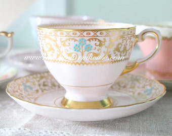 Vintage, English Fine Bone China, Footed Tea Cup and Saucer Duo by Tuscan, Gifts for Her, Replacement China - c. 1947+