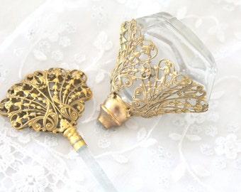 Rare, Matson Inspired, Ormolu, Art Nouveau, Ornate Perfume Bottle with Glass Dauber, Hollywood Regency, Elegant Regency, Victorian Style