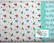 Pillowcase Kit - Oh Boy Aqua Airplanes, Elephants & Stars