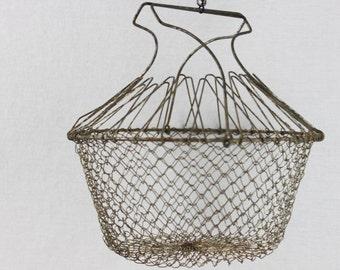 Vintage Collapsible Wire Basket, Egg Gathering Basket, Egg Basket