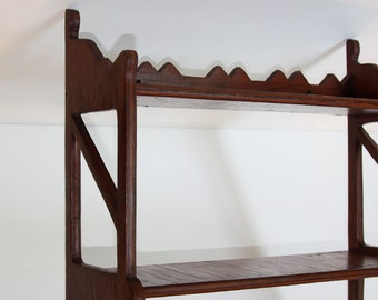 Charming Shelf! Pine 3 Tier Carved/ 1950s Hand Made Shop Project / Mid Century/ Sturdy and Ready to Use to Display Your Treasures