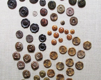 Mid Century Brown Buttons Instant Collection Different Sizes & Styles/ A Lovely Group!
