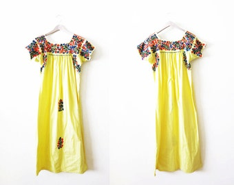 Embroidered Mexican Dress / Mexican Dress Women / Vintage Yellow Mexican Floral Embroidered Maxi Dress