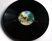 "JAMES TAYLOR Vinyl Record CLOCK made from recycled album ""Mud Slide Slim"" Retro gift for dad mum mom grandpa grandma green and black retro"