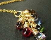 VALENTINE SALE 14K Gold Fill Cluster Necklace with Wire Wrapped Clear Teardrop Charms. Handmade Jewelry.
