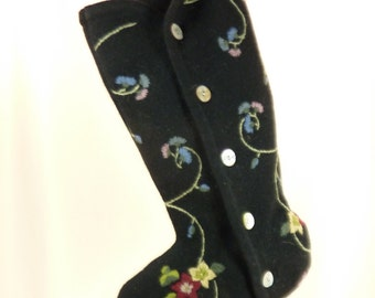 Christmas Stocking Black Felt Felted Boiled Wool OOAK Floral Flowers Embroidery Mother Of Pearl Recycled Repurposed Upcycled 732