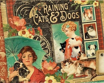 Graphic 45 - Raining Cats and Dogs 12x12 Paper Set - 1 of each 12 design papers - 12 sheets Cardstock Collection