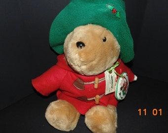 "Vintage Christmas Paddington bear with stuffed ornament Sears 1994 Plush 17"""