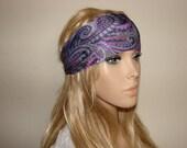 yoga headband paisley, purple pink turban headband, fitness hair band silky jersey yoga headband boho hair band woman head wrap scarf