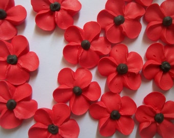 Large royal icing poppies -- Edible handmade cupcake toppers cake decorations (12 pieces)