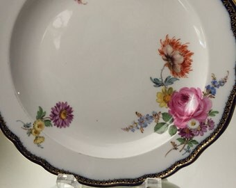 Antique Plate/Meissen Display Plate/Hand Painted Floral Sprays/Gold Overlay Cobalt/Wave Trim on Rim/Cabinet Display/Christmas Gift