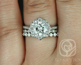 Rosados Box Rori 7mm, Ult Pt Gwen, & Pte Naomi 14kt Gold Cushion F1- Moissanite Diamond Halo WITHOUT Milgrain TRIO Wedding Set