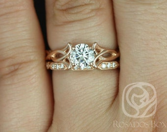 Rosados Box Orla 6mm & Stella 14kt Rose Gold Round F1- Moissanite and Diamonds Celtic Knot Triquetra Wedding Set