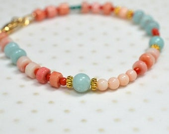 Peach coral bracelet Aqua Amazonite bracelet Semi precious gem stone beaded bracelet Modern boho bracelet Summer beach everyday jewelry