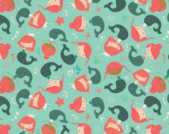"""Mermaids, by Heather Rosas - 100% Cotton, 44"""" Wide, by the half yard"""