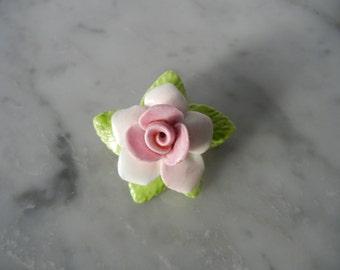 Vintage Brooch, Vintage Flower Pin, Vintage Rose Brooch, Vintage Rose Pin, Pink Rose Pin, 1950s Rose Pin, 1950s Rose Brooch,Ceramic Rose Pin