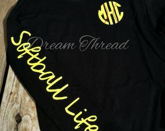 Softball Life monogram tee, Baseball Life Monogram tee, softball tee, baseball tee, baseball mom, softball mom (made to order)