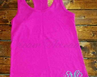 Glitter Monogram Razorback Tanks, Summer, Beach, Sorority, Bridesmaids, Wedding Party, (made to order)